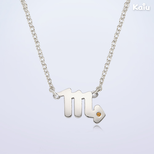 Silver Scorpio(10.23~11.22) Personalized Baby Necklace, 2.4mm Cable Chain,37cm