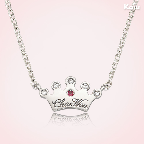 Silver Tiara Pendant Necklace,2.4mm Cable Chain,37cm