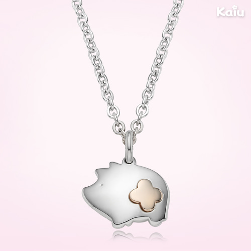 5K Gold Silver Pig Pendant Baby Necklace, 2.4mm cable chain, 37cm(5k Gold combi)