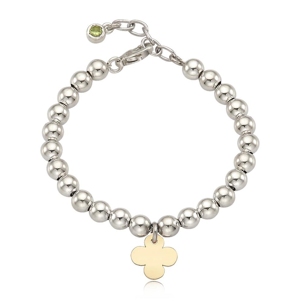 5K Gold Crover Charm Sterling Silver Bead Birthstone Bracelet [ Personalized Engraving ]
