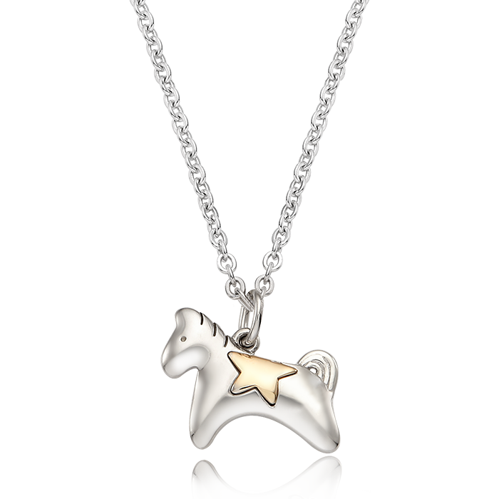 5K GOLD Oriental Zodiac Horse Baby Silver Necklace