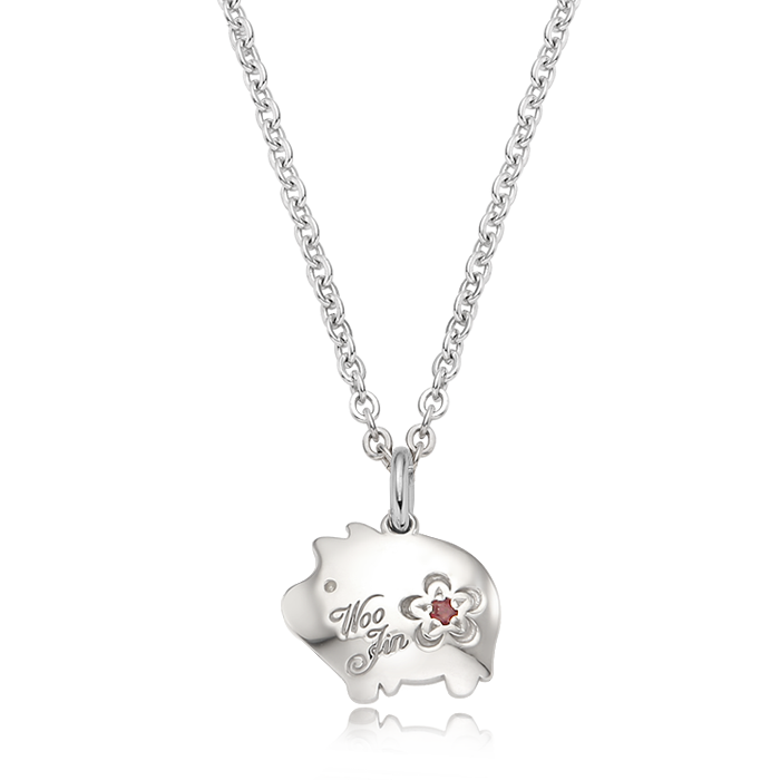 Cookie Pig Birthstone Silver Necklace/ Lost Child Prevention Necklace