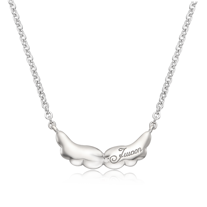 Baby Angel Birthstone Silver Necklace/ Lost Child Prevention Necklace