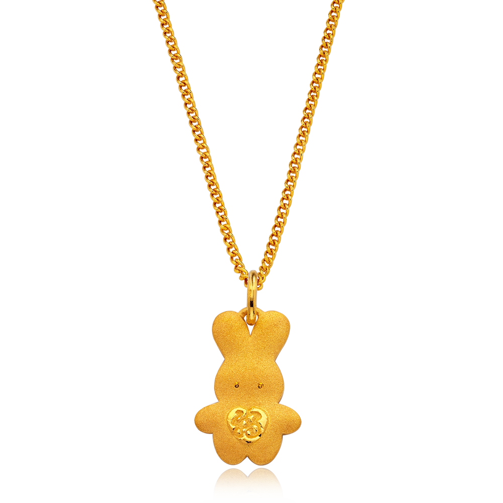 24K Pure gold baby  Oriental Zodiac Rabbit Necklace