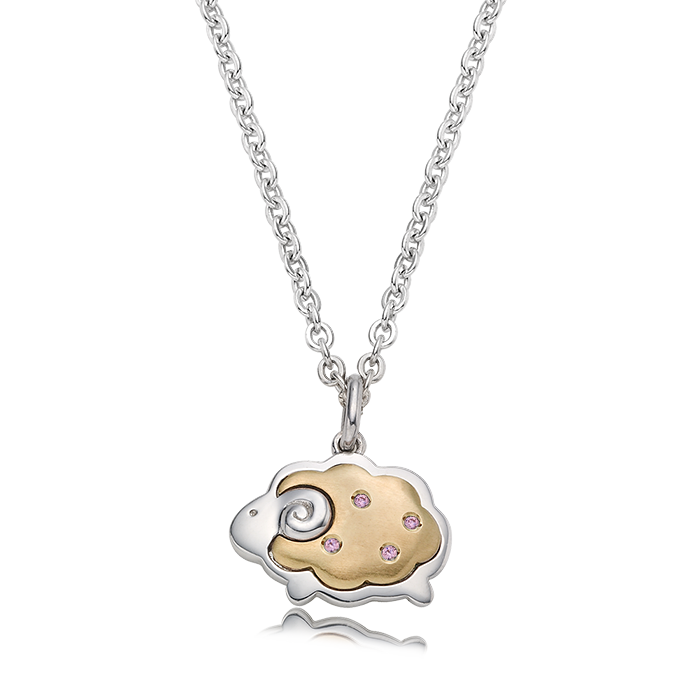 5K GOLD Oriental Zodiac Sheep(Pink) Baby Silver Necklace