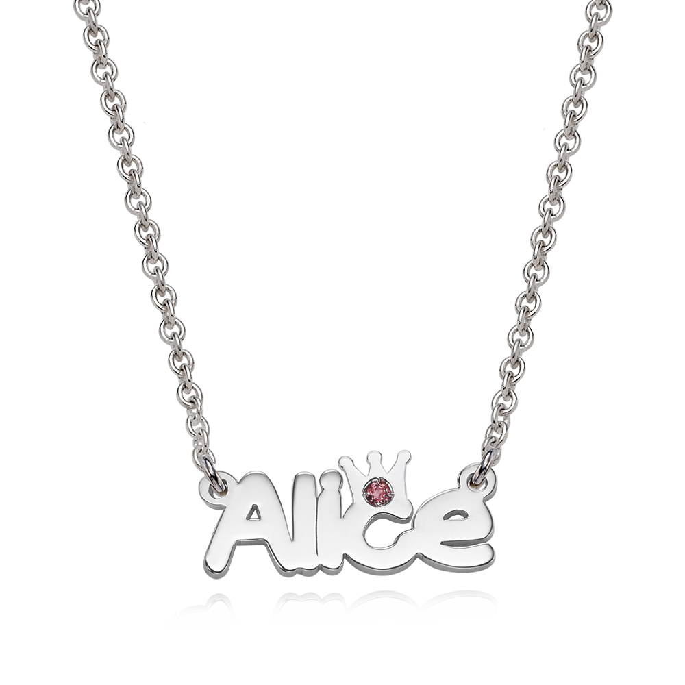 Silver Crown Birthstone Name Necklace