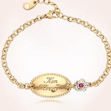Product Baby Bracelets For S 14k Yellow Gold Oval White Flower Engravable Bracelet