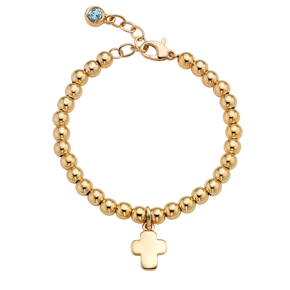 18K Gold Cross Pendant 4.0mmBall Birthstone Bracelet