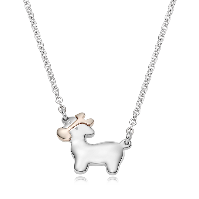 5K GOLD Oriental Zodiac Ox Baby Silver Necklace