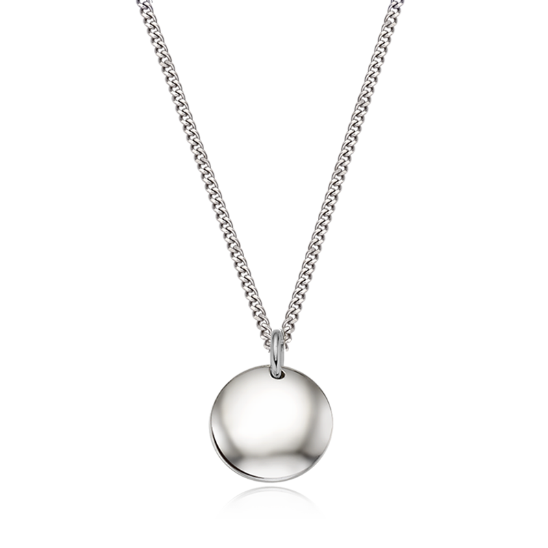 Kaiu Modern shape round silver necklace (CurbChain)