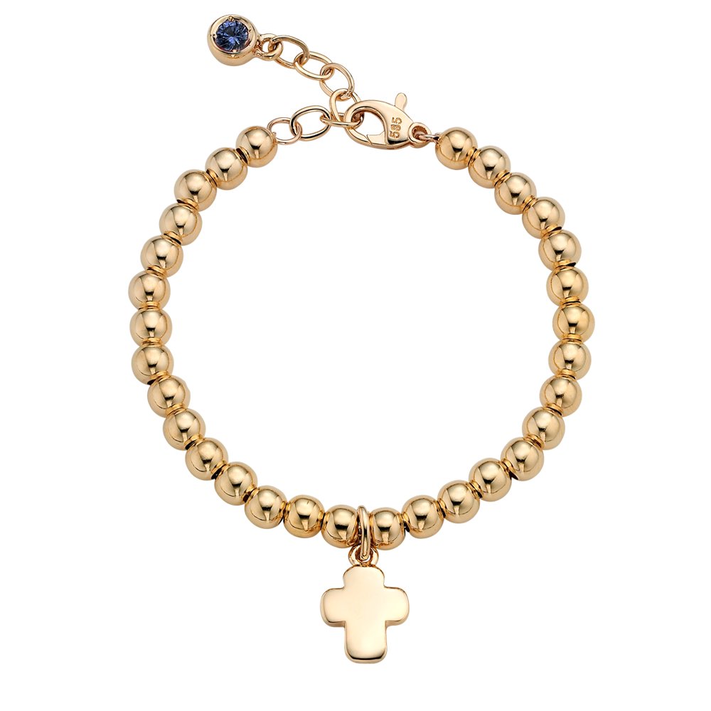 14K Gold Cross Pendant 4.0mmBall Birthstone Bracelet