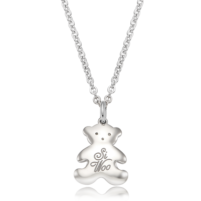 Teddy Bear Birthstone Silver Necklace/ Lost Child Prevention Necklace