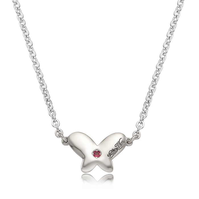 Baby Butterfly Birthstone Silver Necklace/ Lost Child Prevention Necklace
