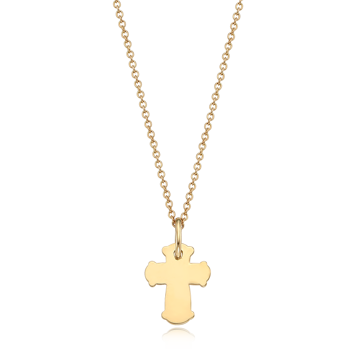 14K / 18K Gold Mini Cross Necklace[ Baptismal Gifts / Personalized Baptismal Name Engraving ]