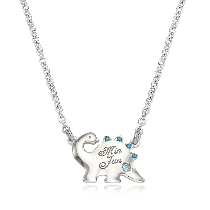 Dinosaur Birthstone Silver Necklace(Blue)/ Lost Child Prevention Necklace