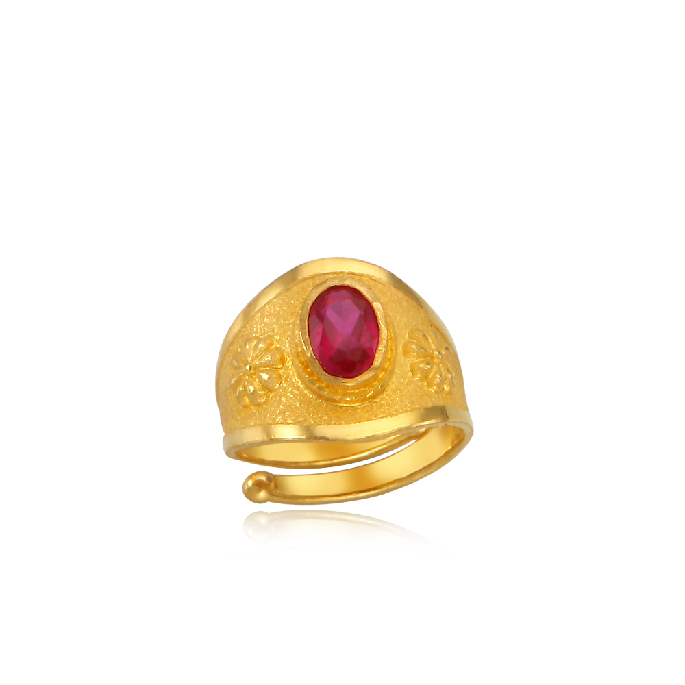 Pure Gold 3.75g Red Stone The first birthday baby ring