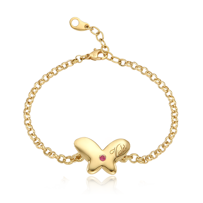 14K / 18K Gold Baby Butterfly Anti-lost Bracelet