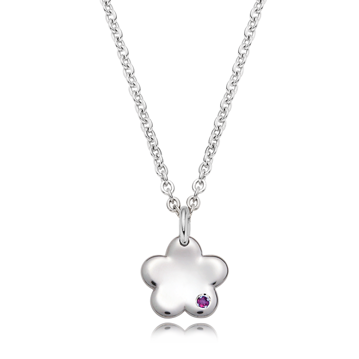 Baby Flower Birthstone Silver Necklace/ Lost Child Prevention Necklace