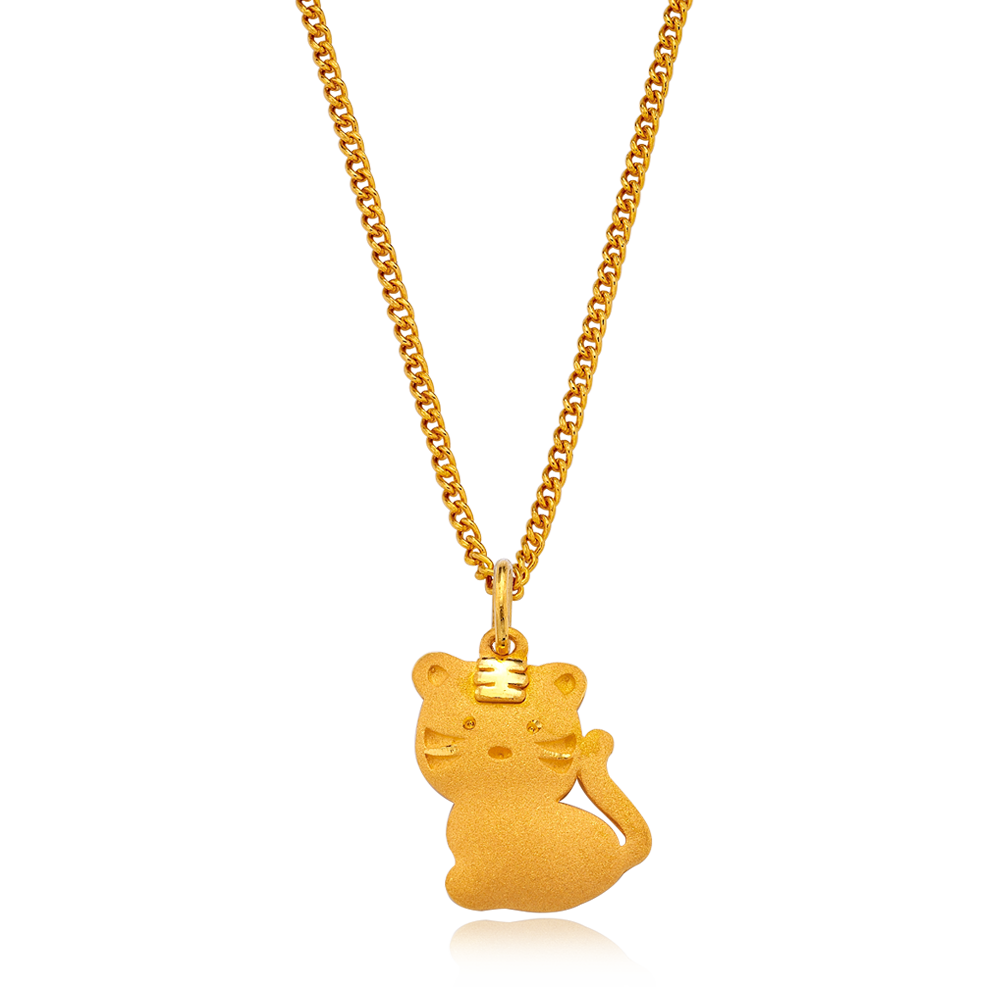 24K Pure gold baby  Oriental Zodiac Tiger Necklace