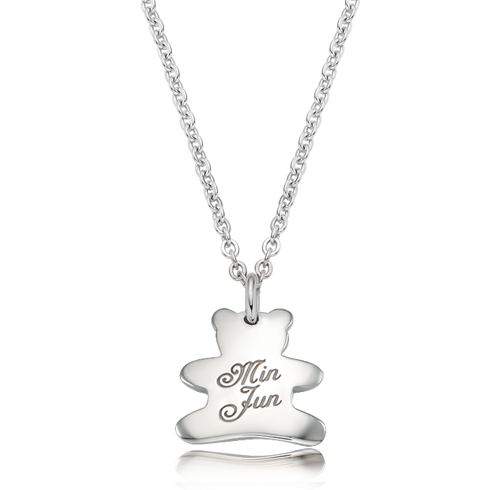 Kevin Bear Birthstone Silver Necklace/ Lost Child Prevention Necklace