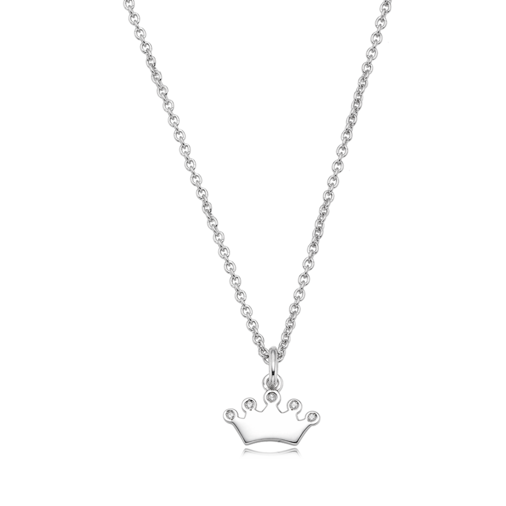 Sterling Silver Tiara Cubic Stone Friendship Necklace - Engraveable