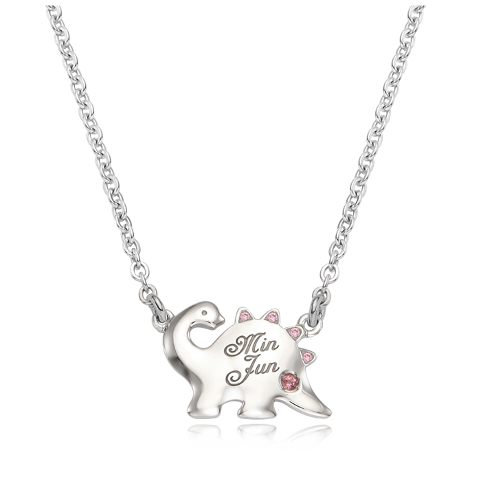 Dinosaur Birthstone Silver Necklace(Pink Cubic)/ Lost Child Prevention Necklace