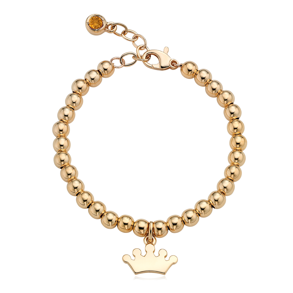18K Gold Tiara Pendant 4.0mm Ball Birthstone Bracelet