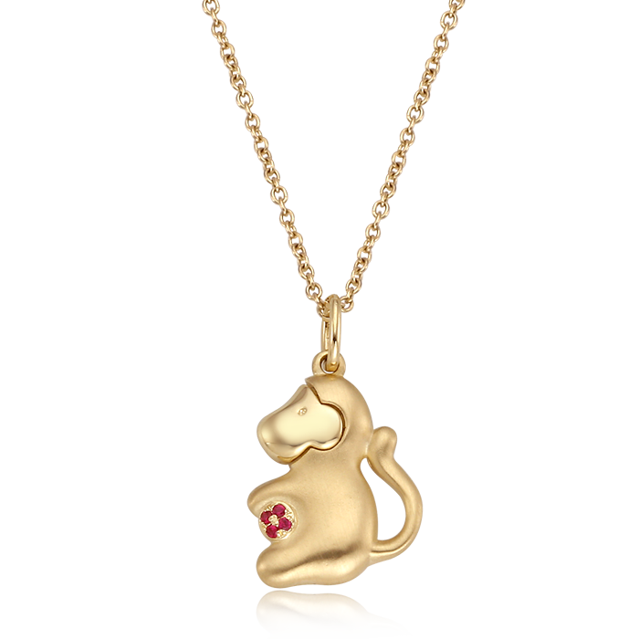 14K/18K Gold Oriental Zodiac Monkey Necklace