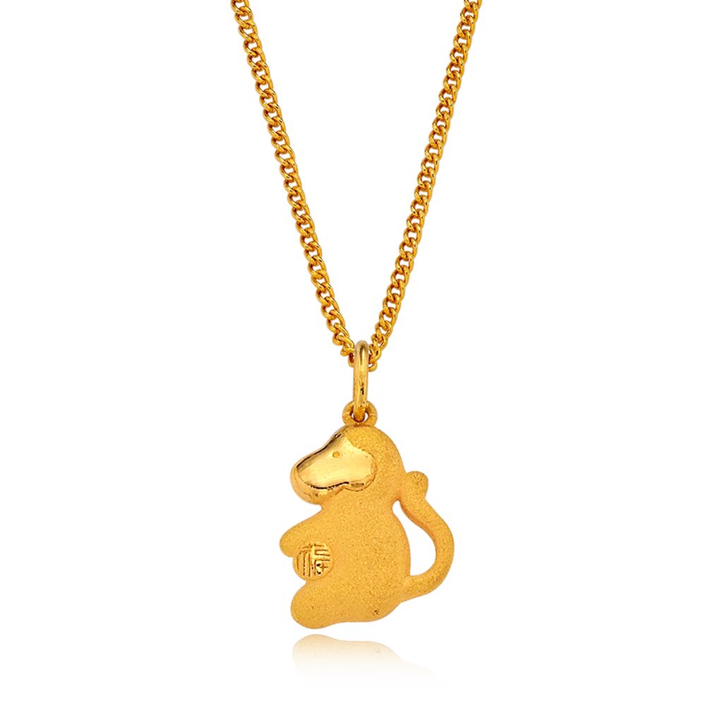 24K Pure gold baby  Oriental Zodiac Monkey Necklace