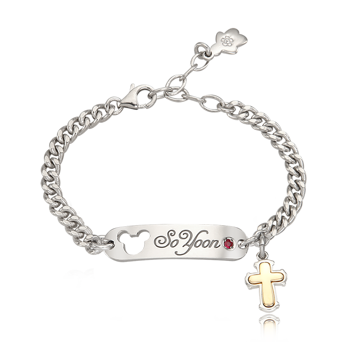 Kaiu Silver Elgin Stick Name Lost Child Prevention Bracelet [ 5K Gold Cross Charm ]