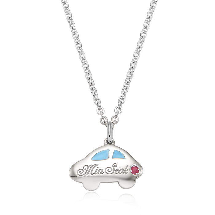 Car Birthstone Silver Necklace(Blue)/ Lost Child Prevention Necklace