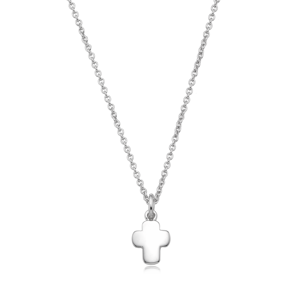 Sterling Silver Mini Cross Friendship Necklace-Engraveable