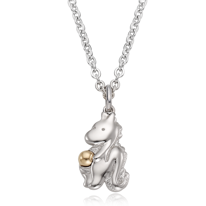 5K GOLD Oriental Zodiac Dragon Baby Silver Necklace