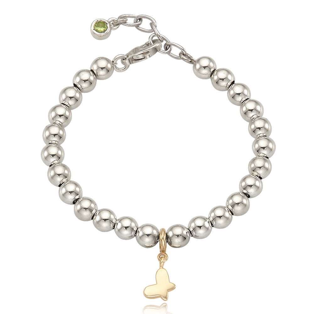 5K Gold Mini Butterfly Charm Sterling Silver Bead Birthstone Bracelet