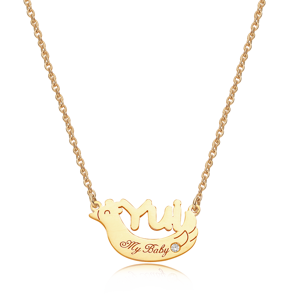 14K/18K Gold Oriental Zodiac Rooster Name Necklace
