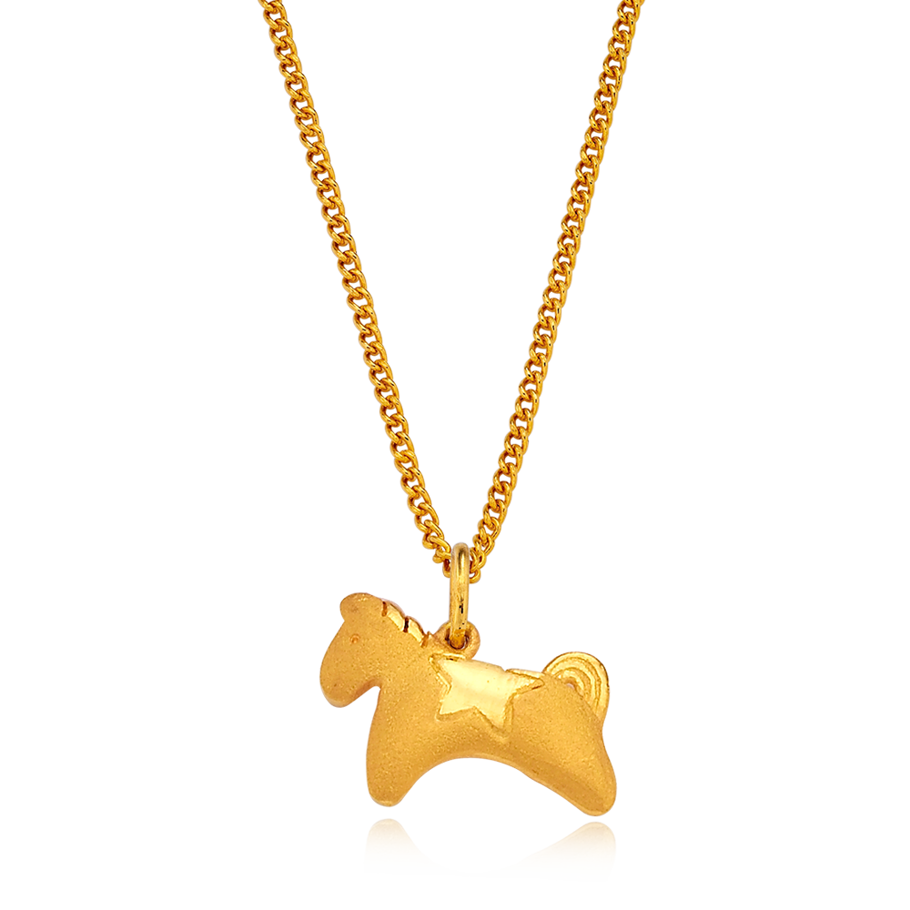 24K Pure gold baby  Oriental Zodiac Horse Necklace