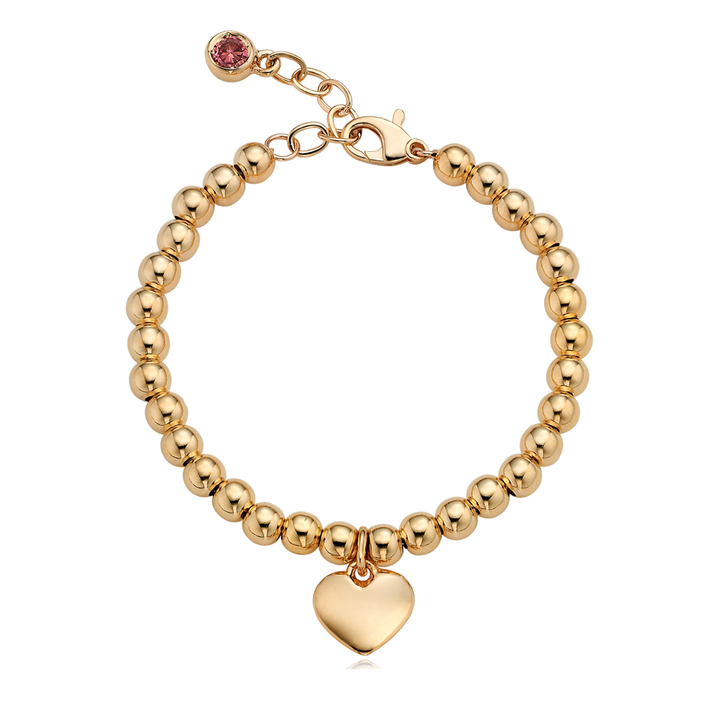 18K Gold Heart Pendant 4.0mm Ball Birthstone Bracelet