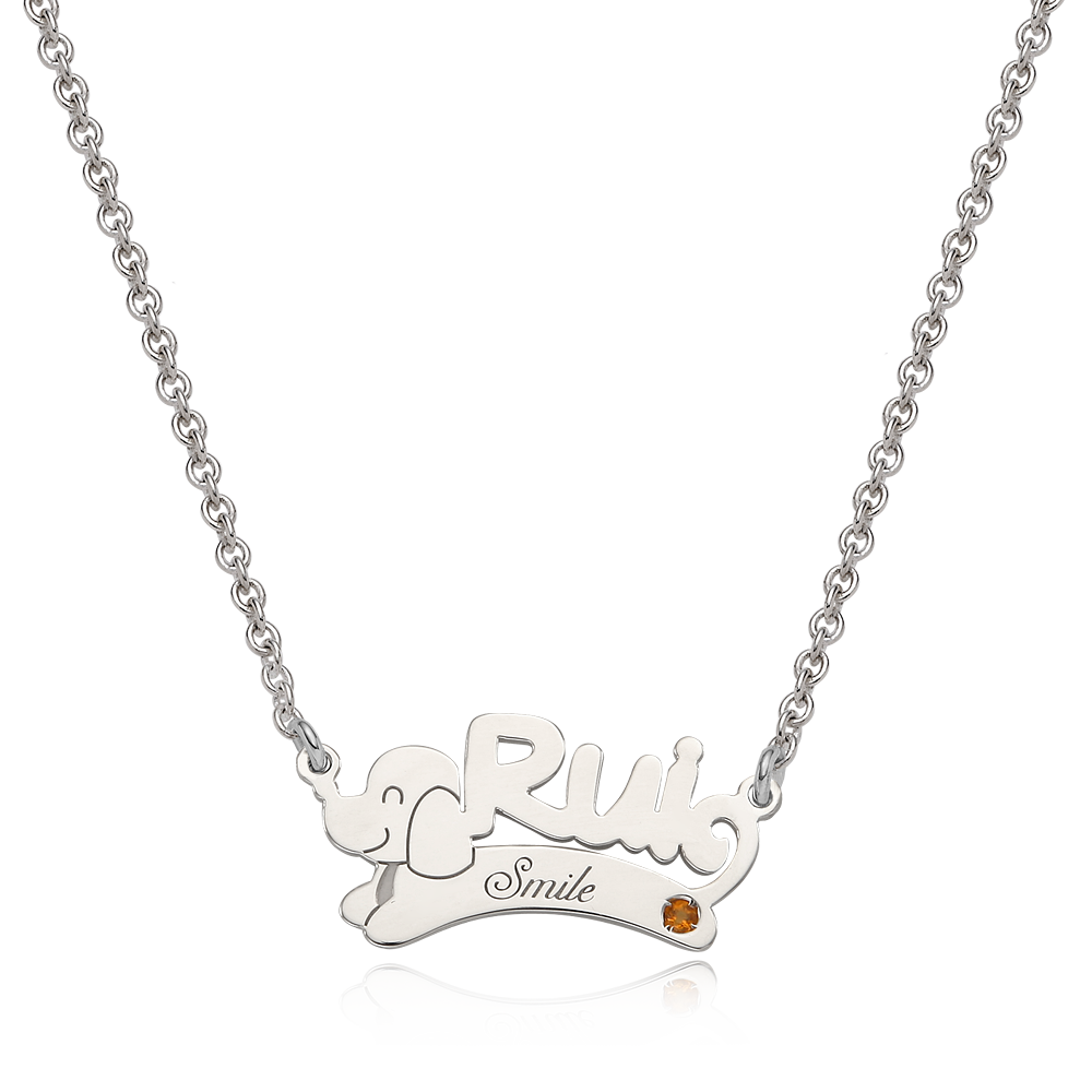 Silver 12 Kanji Belt  Baby Initial Necklace