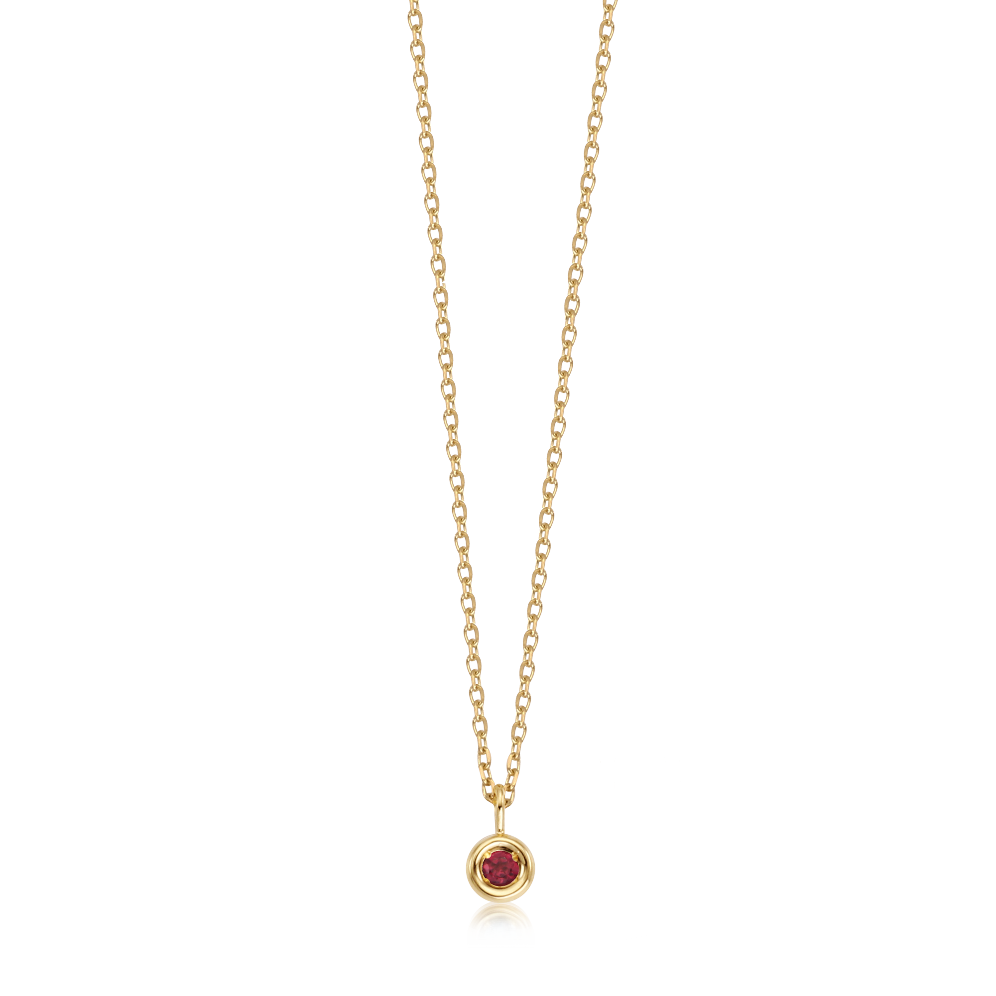 14K Gold Ruby Birthstone Necklace July