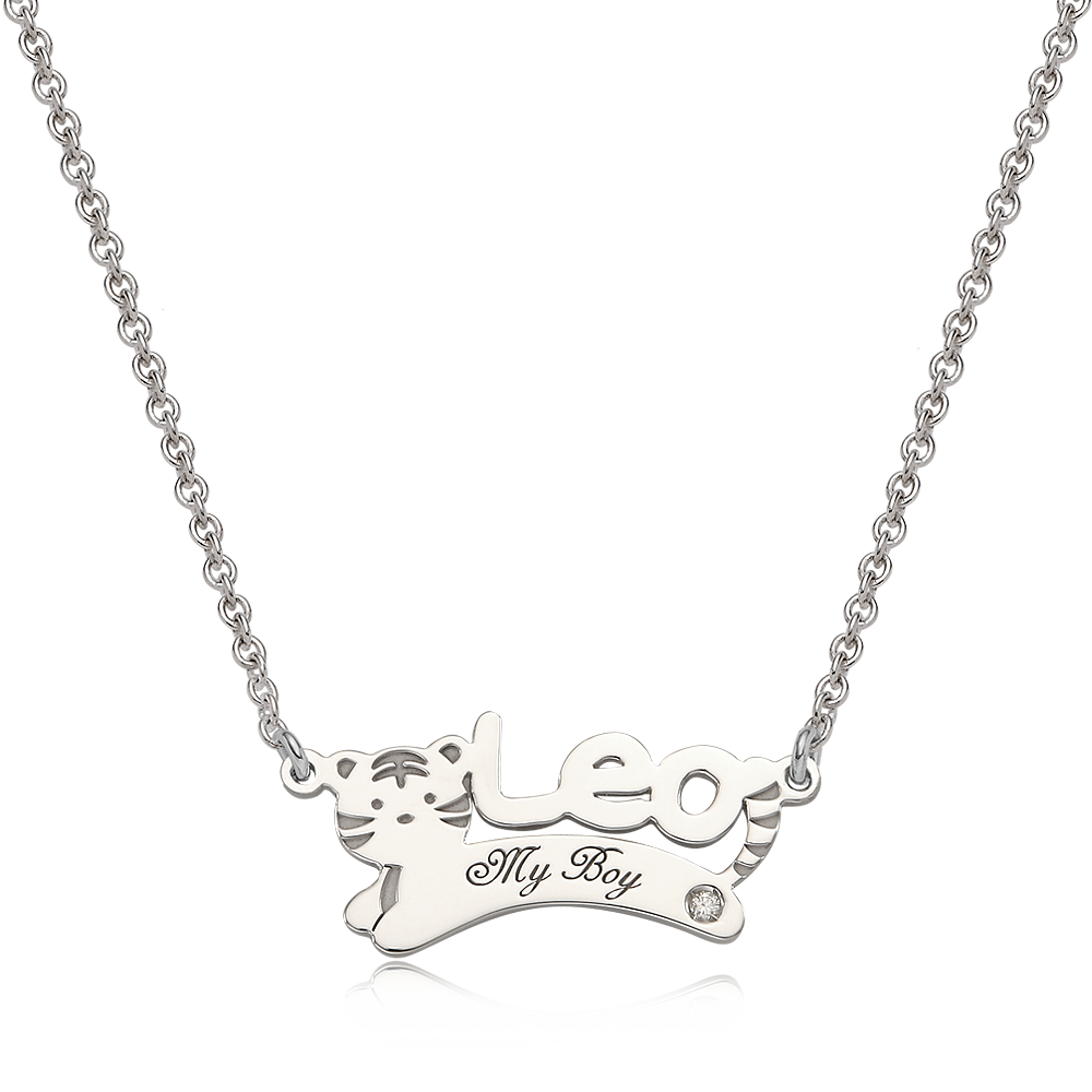 Oriental Zodiac Tiger Sterling Silver Name Necklace