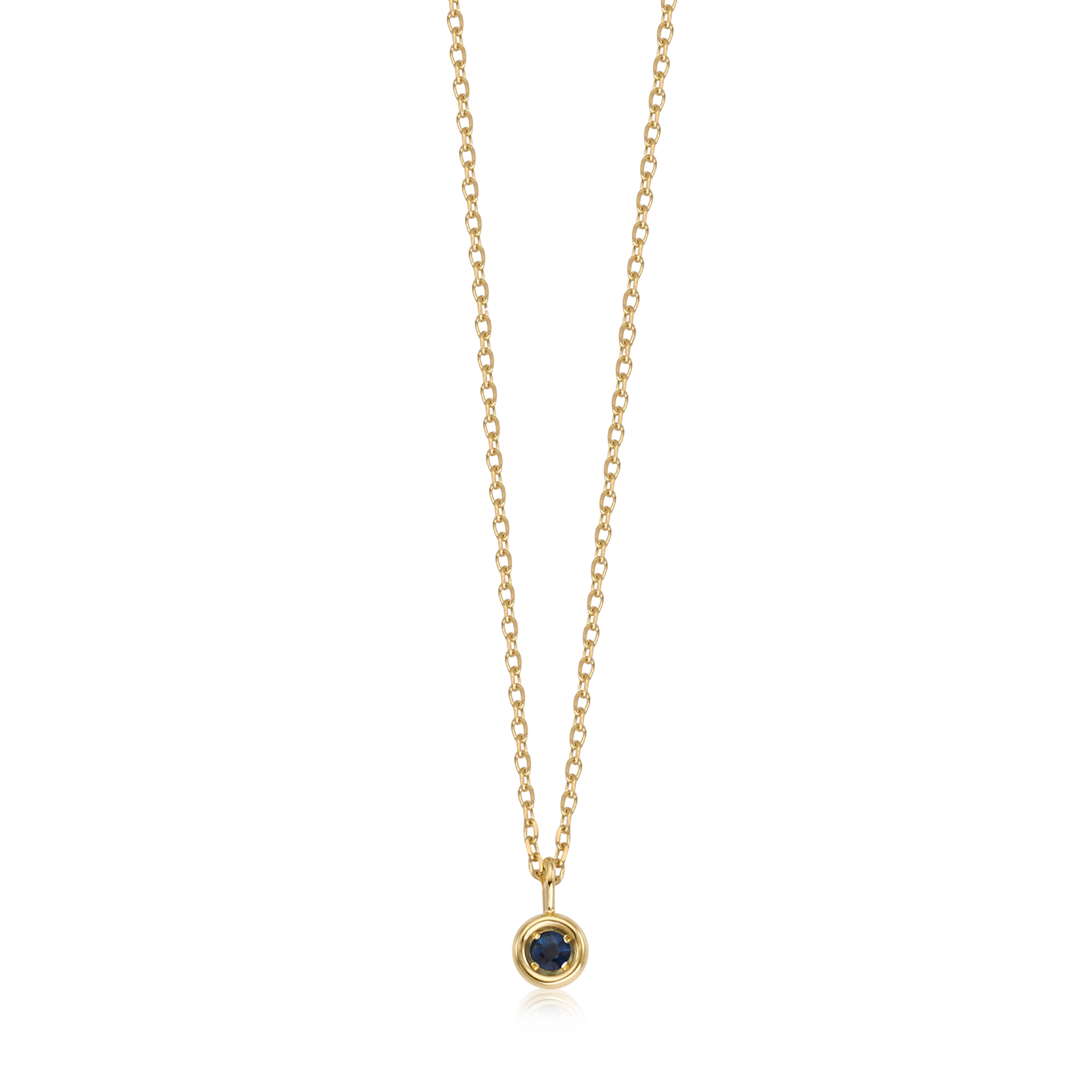 14k Gold September Sapphire Birthstone Necklace
