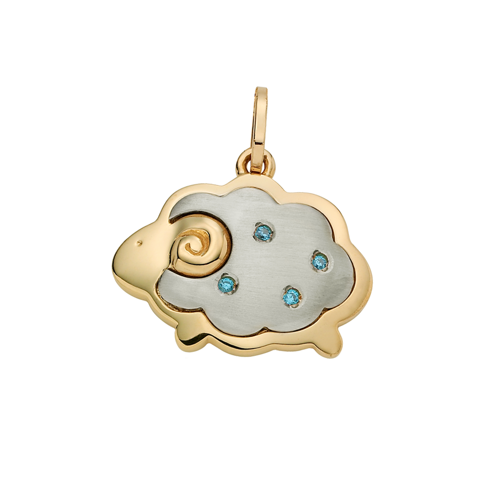 14K Gold Oriental Zodiac Sheep(Blue) Pendant