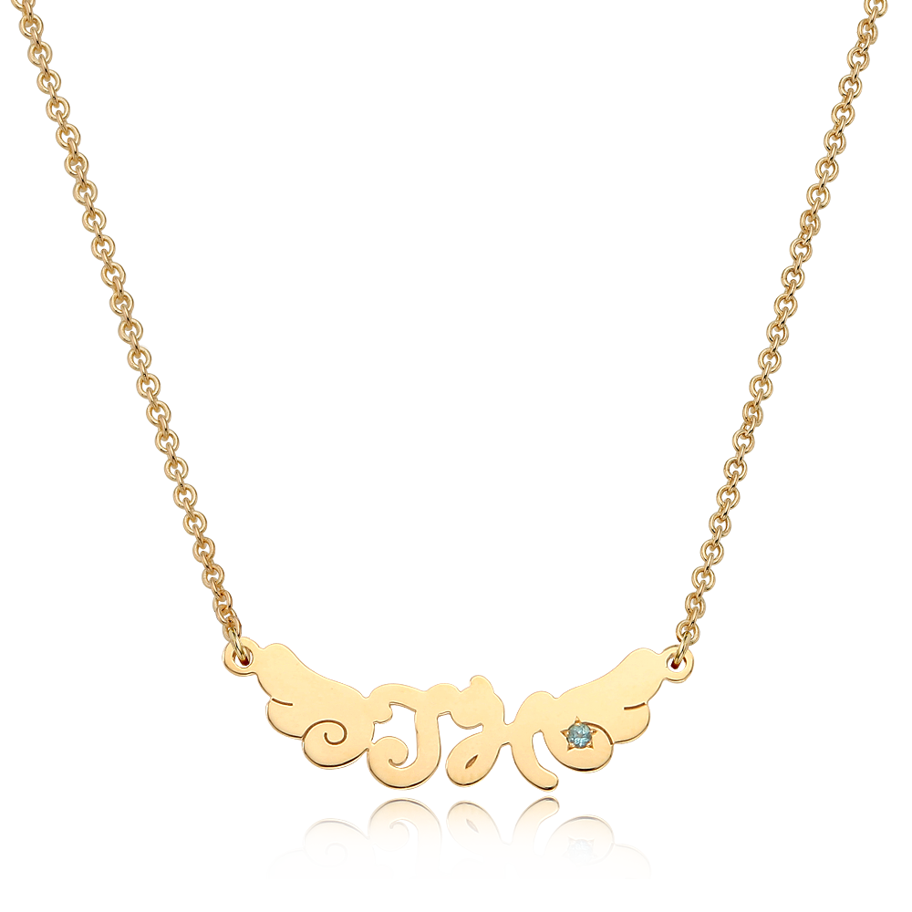 14K / 18K Gold Angel Wings Birthstone Baby Initial Necklace