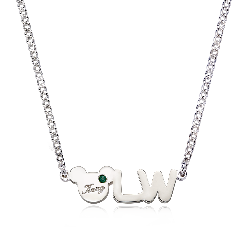 Silver Elin Bear Birthstone English Initial Necklace