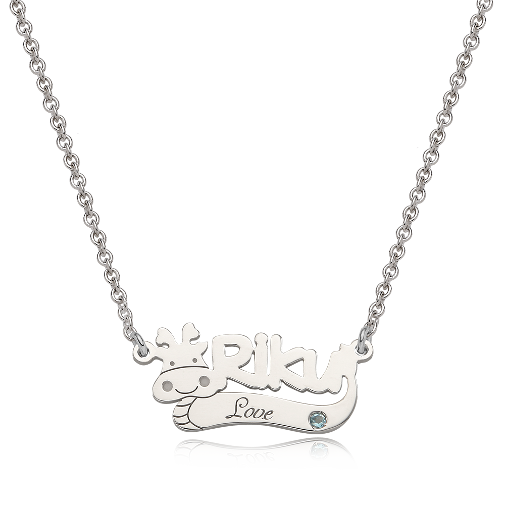 Oriental Zodiac Dragon Sterling Silver Name Necklace