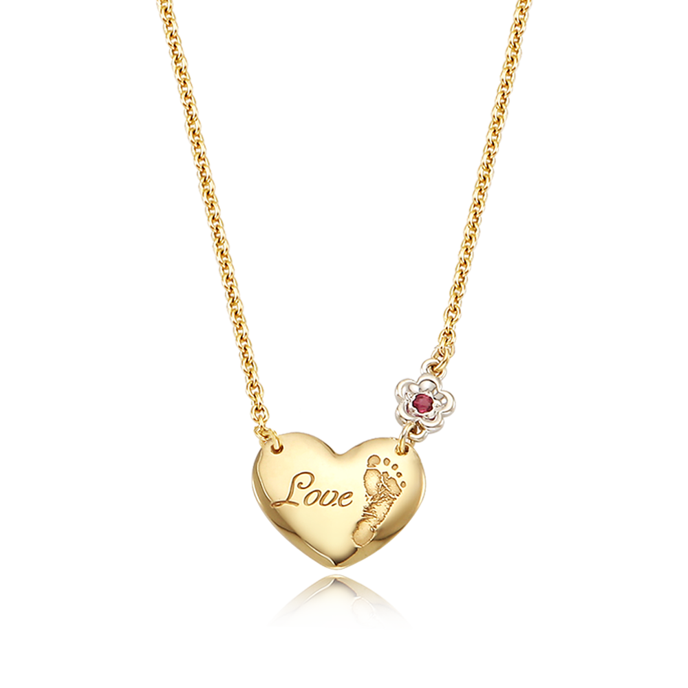 14K / 18K My Baby Foot Painted Heart-White Flower, Baby Birthstone Necklace