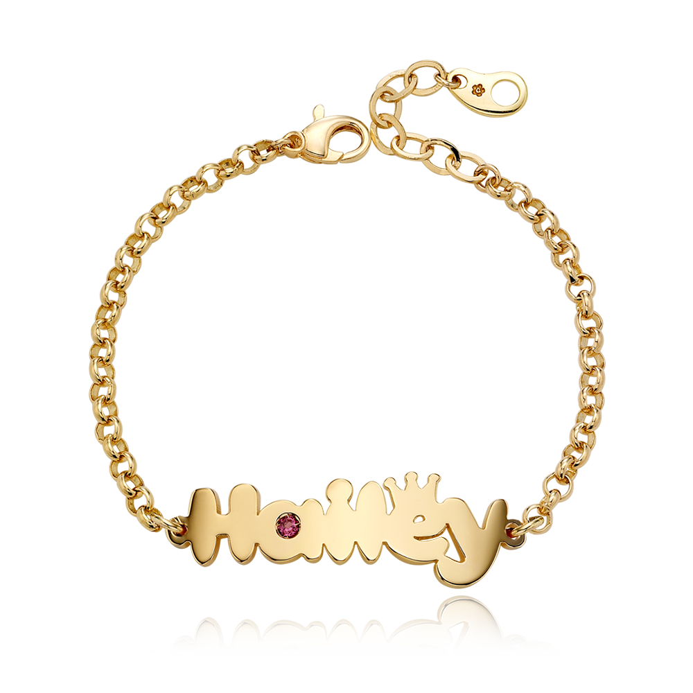 14K / 18K Gold Crown B01 Baby Name Bracelet