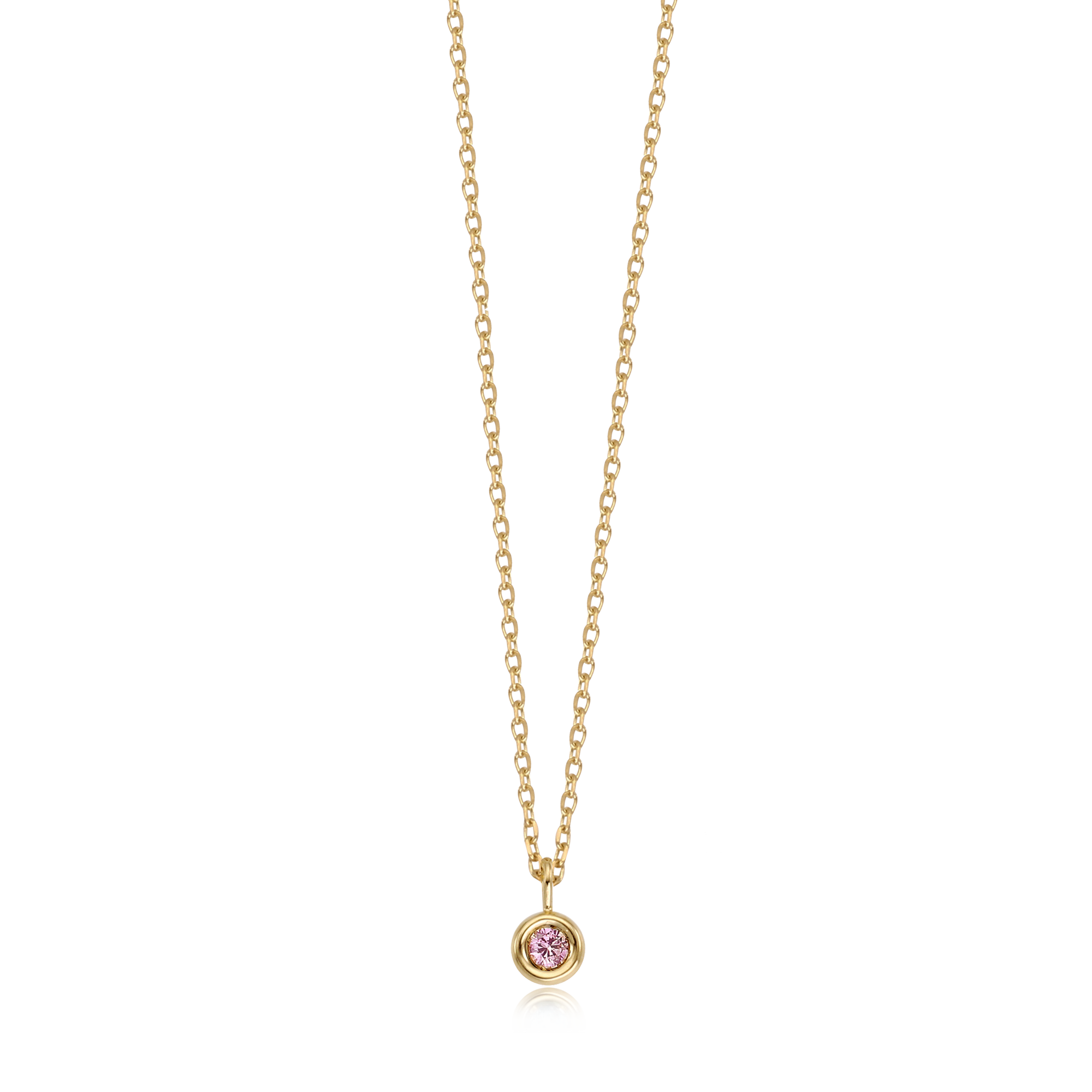 14k Gold October Pink Tourmaline Birthstone Necklace