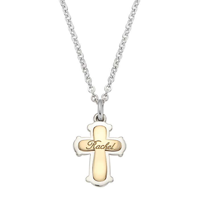 Sterling Silver Classic Cross 5K Gold Combination Necklace [ Baptismal Gifts / Personalized Baptismal Name Engraving ]