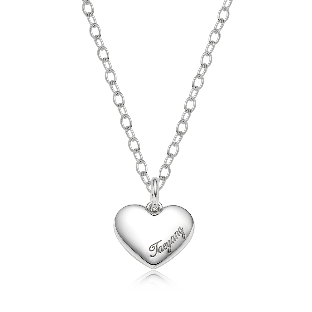 Custom Pet Tags-Sterling Silver Heart Necklace [ Personalized Engraving ]